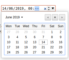 The standard HTML date/time picker